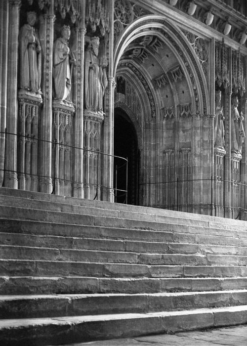 Religious Greeting Card featuring the photograph Canterbury Cathedral Choir Entrance Canterbury England by Richard Singleton