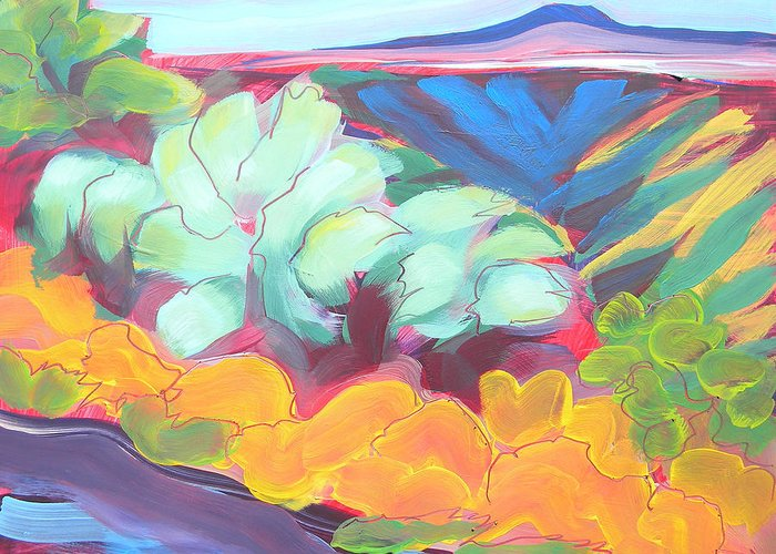 Southwest Greeting Card featuring the painting Canyon Dreams 18 by Pam Van Londen