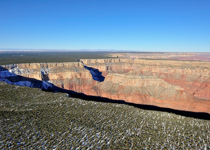Grand Greeting Card featuring the photograph Canyon Edge Aerial Plateau by Tom Dowd