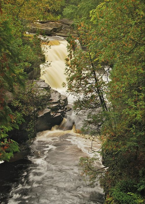 Michigan Greeting Card featuring the photograph Canyon Falls 2 by Michael Peychich