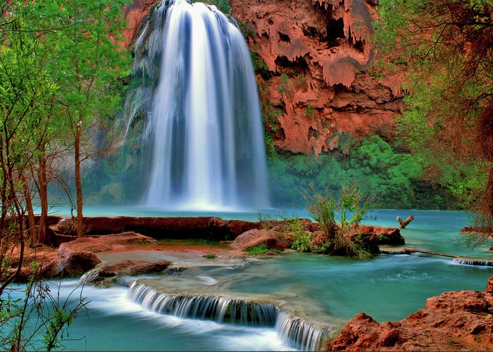 Southwest Greeting Card featuring the photograph Canyon Falls by Scott Mahon