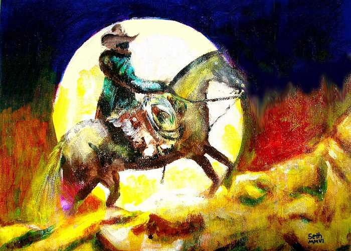 Canyon Moon Greeting Card featuring the painting Canyon Moon by Seth Weaver