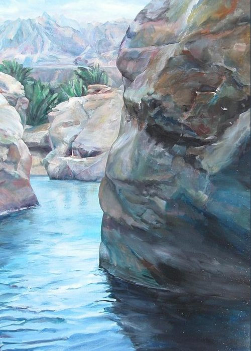 Landscape Greeting Card featuring the painting Canyon by Muriel Dolemieux