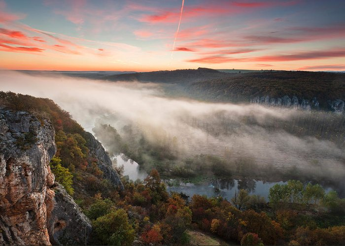 Dawn Greeting Card featuring the photograph Canyon Of Mists by Evgeni Dinev