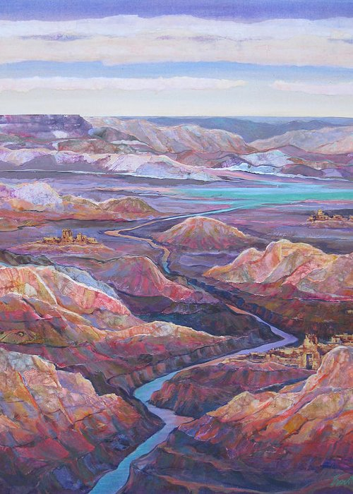 Southwest Greeting Card featuring the painting Canyonlands by Don Trout