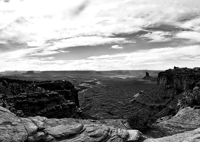 Green River Greeting Card featuring the photograph Canyonlands National Park Utah Pan 06 Bw by Thomas Woolworth