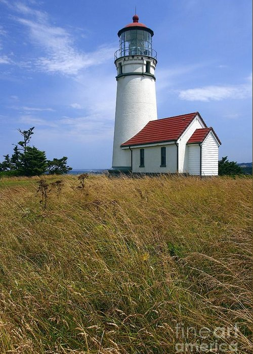 Lighthouse Oregon cape Blanco Light Coast Greeting Card featuring the photograph Cape Blanco Light by Winston Rockwell