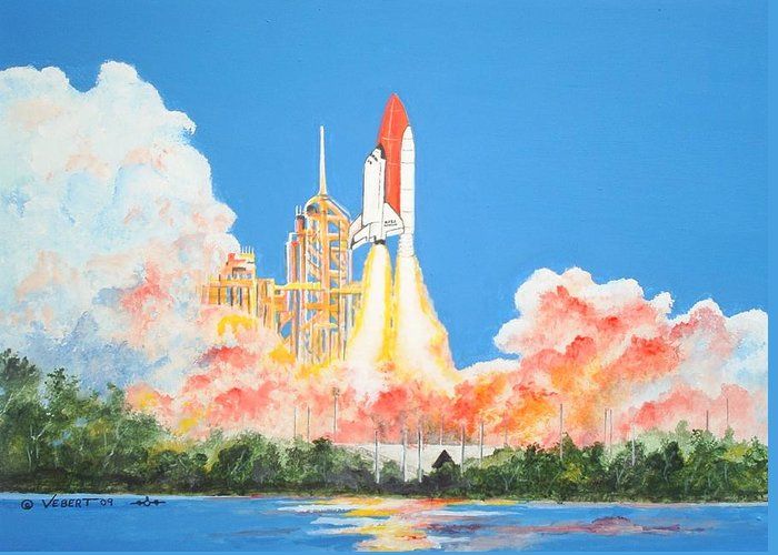 Space Greeting Card featuring the painting Cape Canaveral by Dennis Vebert