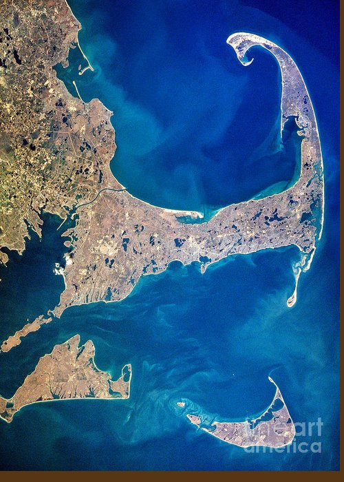 Aerial Greeting Card featuring the photograph Cape Cod And Islands Spring 1997 View From Satellite by Matt Suess