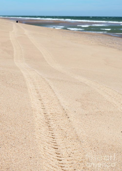 Cape Cod Greeting Card featuring the photograph Cape Cod Beach With Tire Tracks by Michelle Himes