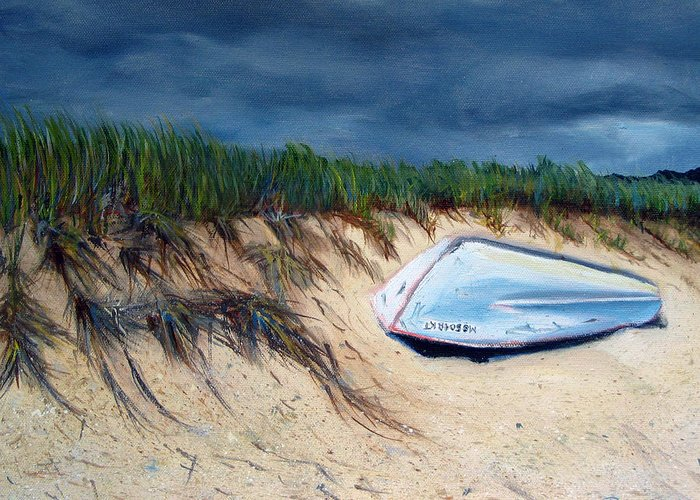 Boat Greeting Card featuring the painting Cape Cod Boat by Paul Walsh