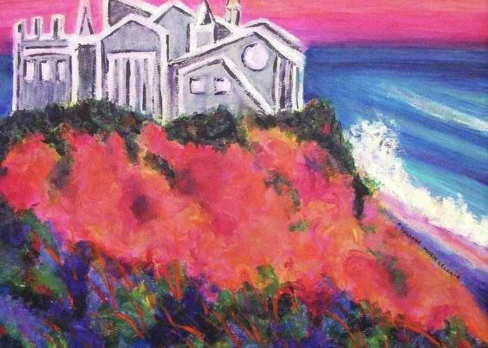 Castle Greeting Card featuring the painting Cape Cod Castle by Suzanne Marie Leclair