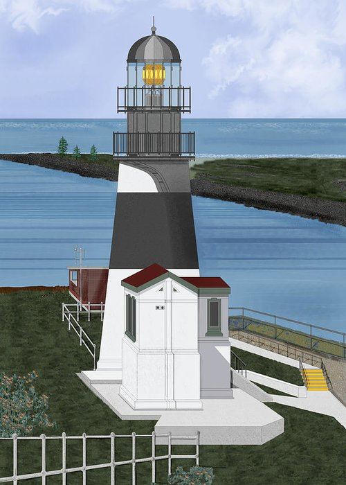 Lighthouse Greeting Card featuring the painting Cape Disappointment At Fort Canby Washington by Anne Norskog