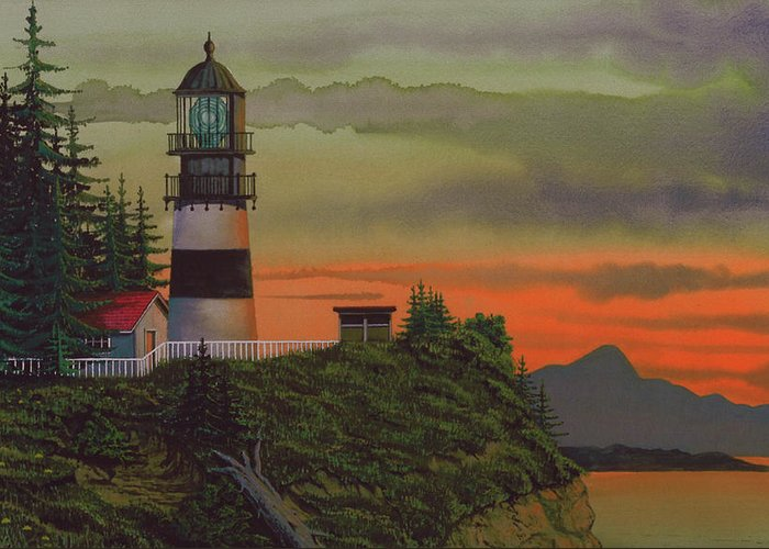 Cape Disappointment Lighthouse Greeting Card featuring the painting Cape Disappointment by James Lyman