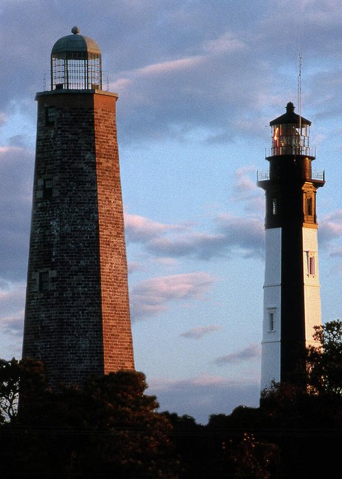 Lighthouses Greeting Card featuring the photograph Cape Henry Lighthouses In Virginia by Skip Willits