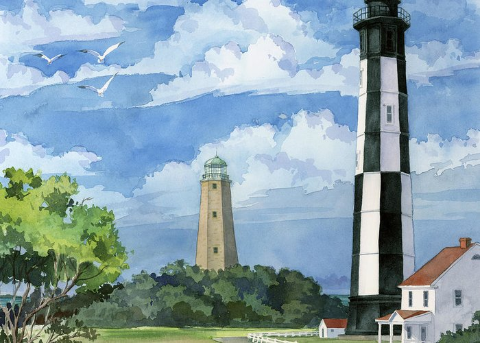 Lighthouse Greeting Card featuring the painting Cape Henry by Paul Brent