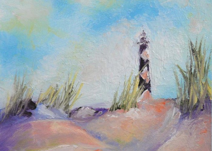 Lighthouse Greeting Card featuring the painting Cape Lookout Lighthouse by Donna Pierce-Clark