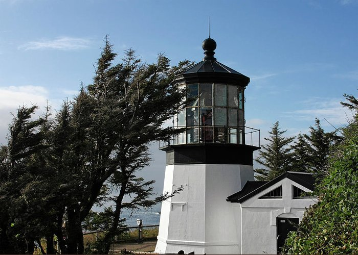 Cape Meares Lighthouse Greeting Card featuring the photograph Cape Meares Lighthouse Near Tillamook On The Scenic Oregon Coast by Christine Till