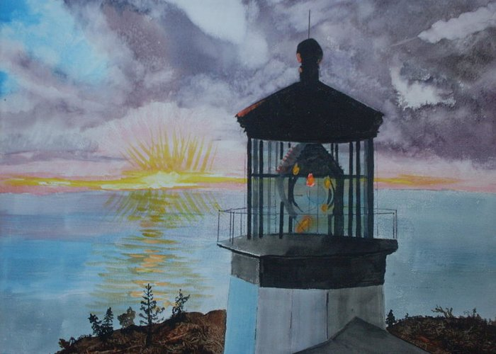 Lighthouse Greeting Card featuring the painting Cape Meares Lighthouse Oregon by Warren Thompson