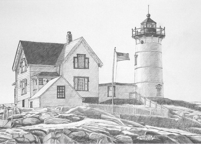Cape Neddick Lighthouse Drawings Greeting Cards