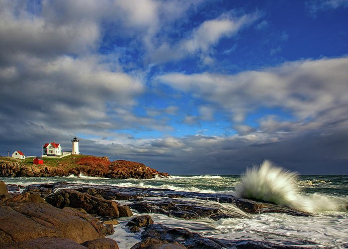 Maine Greeting Card featuring the photograph Cape Neddick Lighthouse by Rick Berk