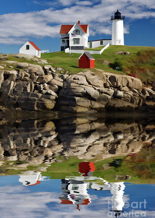 Painting Greeting Card featuring the photograph Cape Neddick Reflection - D003756a by Daniel Dempster