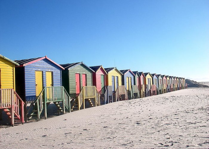 Cape Town Greeting Card featuring the photograph Cape Town Beachhuts by Linda Russell