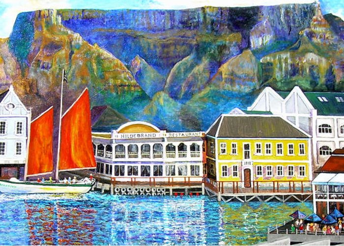 Seascape Greeting Card featuring the painting Cape Waterfront by Michael Durst