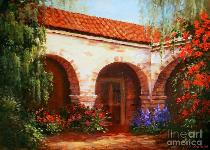 Landscape Greeting Card featuring the painting Capistrano by Gail Salitui