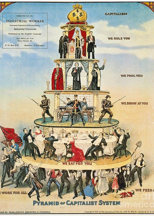 1911 Greeting Card featuring the photograph Capitalist Pyramid, 1911 by Granger