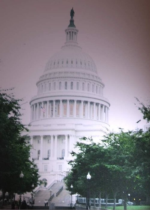 Capitol Greeting Card featuring the photograph Capitol In Pink by Pharris Art