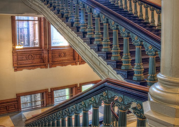 Austin Greeting Card featuring the photograph Capitol Stairwell by Tom Weisbrook