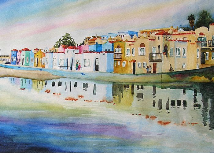 Capitola Greeting Card featuring the painting Capitola by Karen Stark