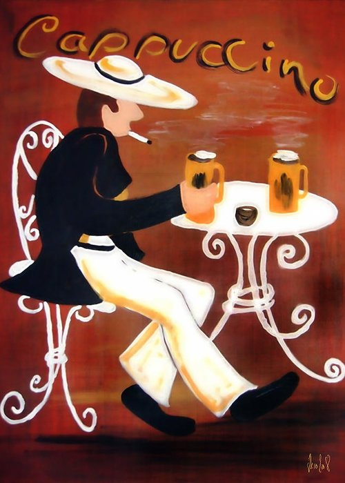 Cappuccino Greeting Card featuring the painting Cappuccino by Helmut Rottler