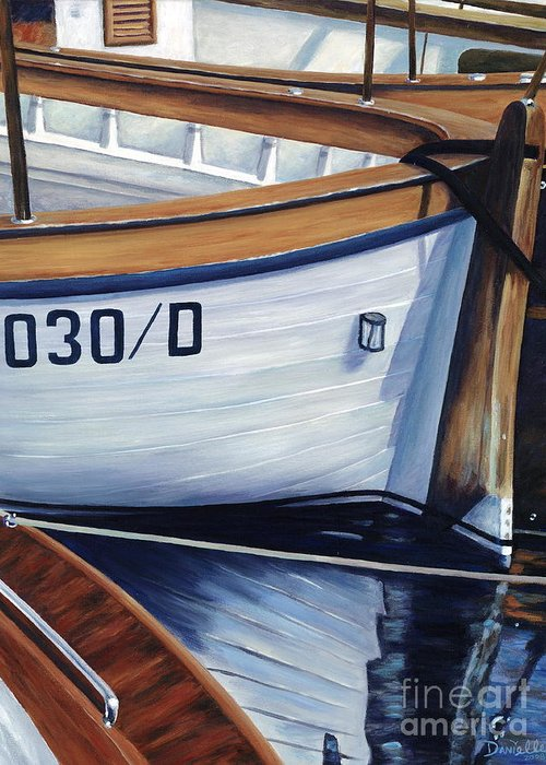 Nautical Greeting Card featuring the painting Capri Boats by Danielle Perry