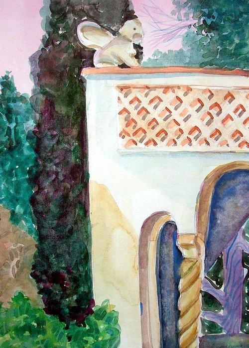 Capri Greeting Card featuring the painting Capri Sphinx by Mindy Newman