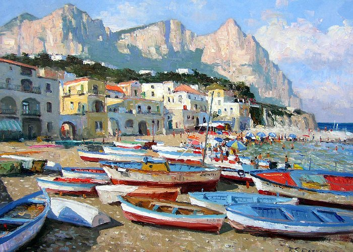 Isle Of Capri Greeting Card featuring the painting Capri Sunshine by Roelof Rossouw