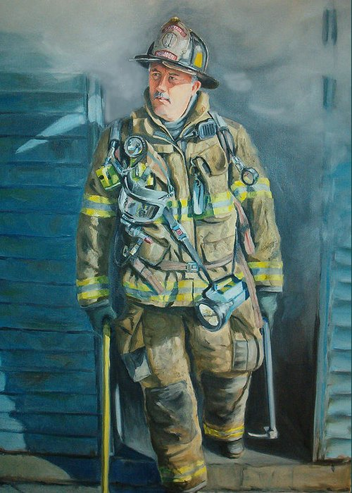 Firefighter Greeting Card featuring the painting Captain Harris by Paul Walsh