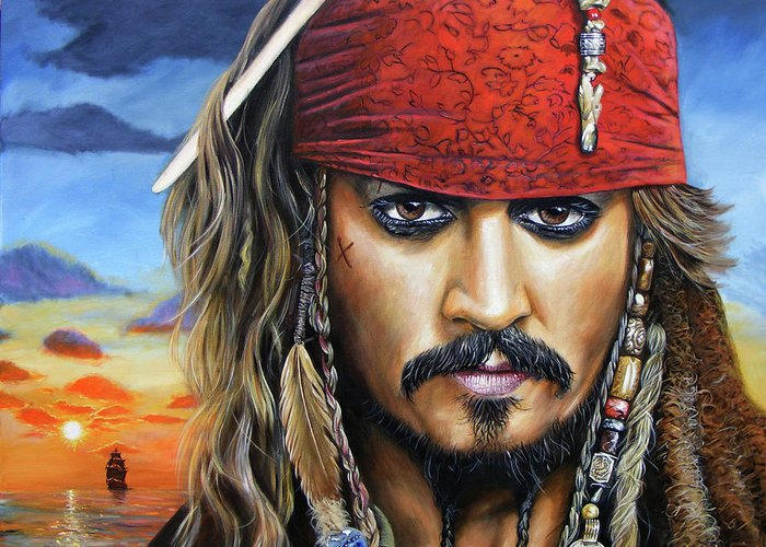 Jack Sparrow Greeting Card featuring the painting Captain Jack by Arie Van der Wijst