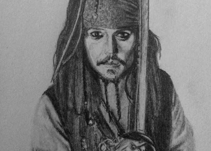 Jack Sparrow Greeting Card featuring the drawing Captain Jack by Kate R