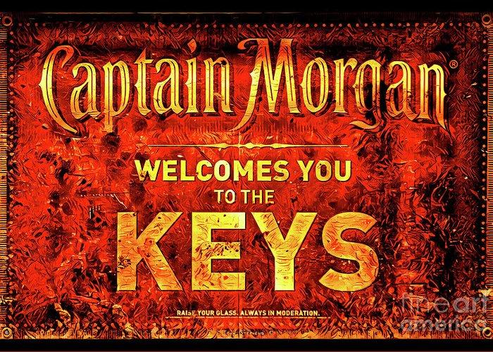 Captain Morgan Greeting Card featuring the photograph Captain Morgan Welcome Florida Keys by John Stephens