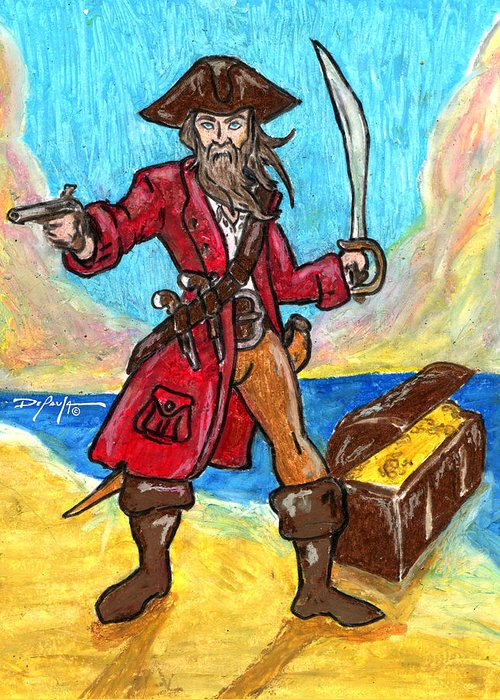 Pirate Greeting Card featuring the mixed media Captain's Treasure by William Depaula