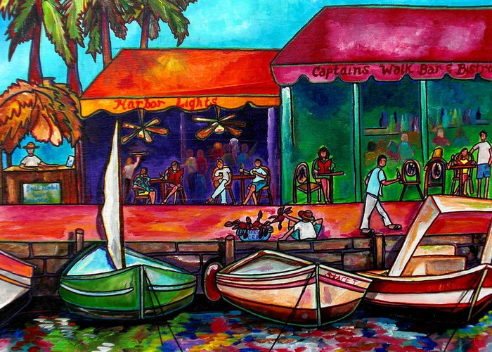 Caribbean Greeting Card featuring the painting Captains Walk by Patti Schermerhorn