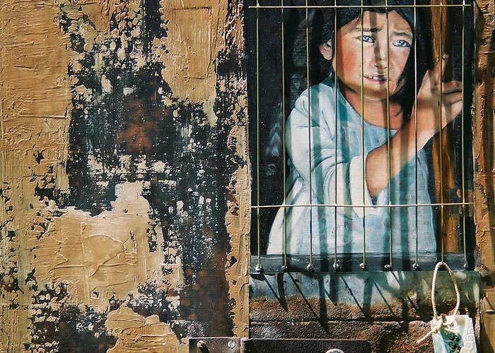 Asian Girl Greeting Card featuring the painting Captive by Teresa Carter