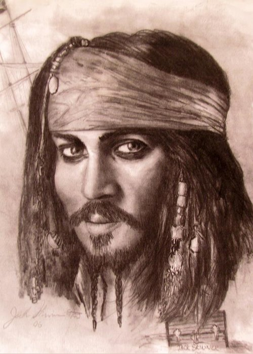 Pirate Greeting Card featuring the drawing Capt.jack by Jack Skinner