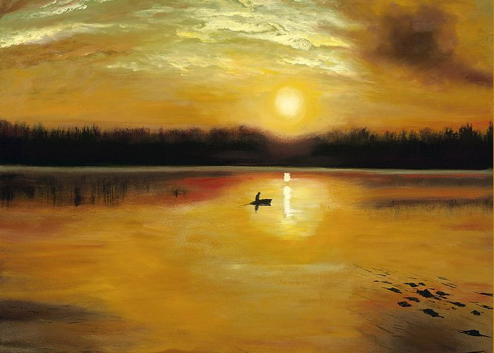 Landscape Greeting Card featuring the painting Captured by the Light by Connie Tom