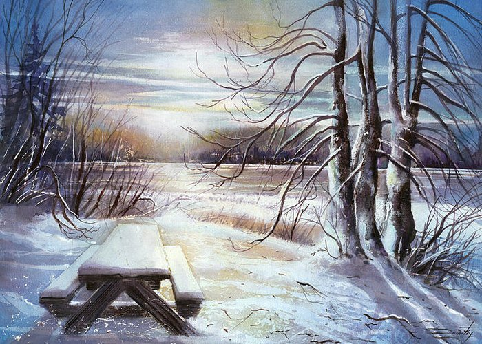 Landscape Greeting Card featuring the painting Capturing The Snow by Dumitru Barliga