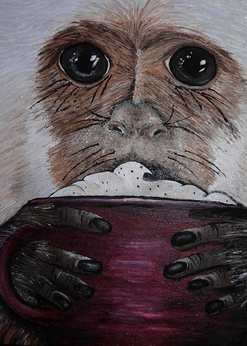 Capuchin Greeting Card featuring the painting Capuchino by Sharon Supplee