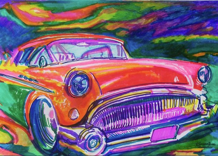 Hod Rod Art Greeting Card featuring the painting Car And Colorful by Evelyn Sprouse Rowe