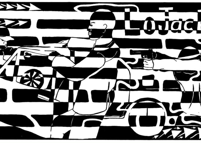 Lojack Greeting Card featuring the drawing Car-jacking Maze For Lojack Advert by Yonatan Frimer Maze Artist